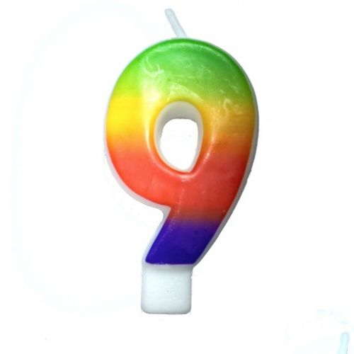 Rainbow-Colored Numeral #9 Candle